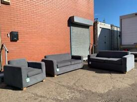 Grey modern sofa set 3/3/1 sofas delivery 🚚 sofa suite couch furniture