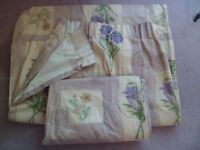 pair of lined curtains flower design including tie backs and pelmet
