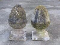 Pair of Vintage Well Weathered Cast Stone Pineapple Gate Post Finials 50cm Tall