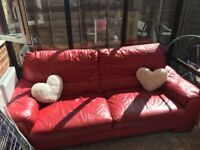 Free 3 seater red leather sofa DFS
