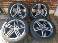 AUDI / VW Tallegada 5x112 Alloy wheels with tyres gun metal grey a3 a4 a5 TT Golf Passat etc
