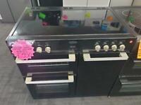 Range belling 90cm wide black electric cooker