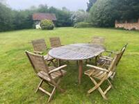 Fioline Teak Extendable Table & 6 Chairs Garden Furniature Used Wood