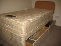 Single Divan Bed with mattress and slide storage draws