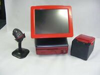 red FAST epos till system very stylish with cash drawer printer scanner & full software license