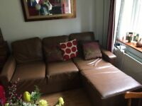 L-shaped Sofa / pull-out Double bed (Brown Leather)