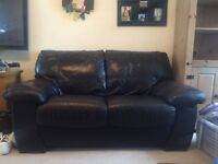 2 seater leather sofa and 3 seater sofa bed. Sold together or separately