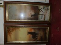 PAIR OF LOVELY VINTAGE STAG REINDEER PICTURES IN WOODEN FRAME