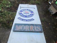 Morris Dealership Hanging Enamel Sign and Neon Sign