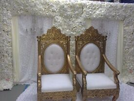 Wedding stage set up - Backdrops / flower wall / throne chairs / centrepieces / charger plates