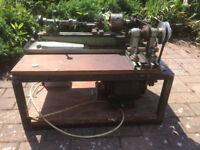 Vintage Metal Workers Lathe, Fully working with Motor on stand