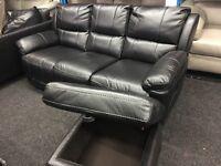 New/Ex Display LazyBoy Black 3 Seater Recliner Sofa + Ottoman Footstool