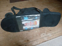 Childrens rocket skateboard with helmet and knee/elbow pads and carry bag, very good condition
