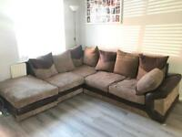 Beige and brown corner sofa £250 Ono
