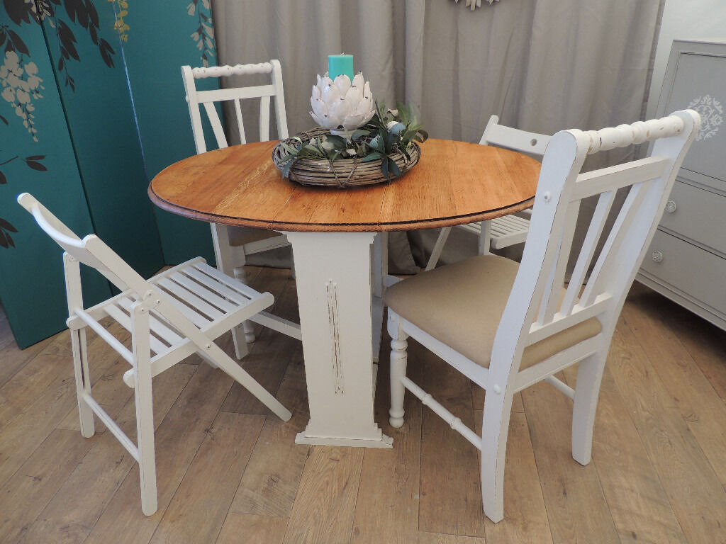 Vintage Oak Dining Table Shabby Chic Vintage Solid Oak Dining Table With 4 Chairs In