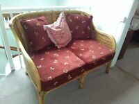 WICKER SETTEE, 2 CHAIRS, SHELF UNIT and screen
