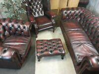 CHESTERFIELD LEATHER SUITE (FULL SET)
