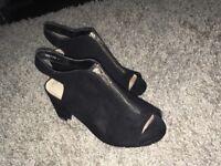 Black , zip up sandals