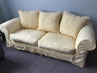 LARGE PALE YELLOW LOOSE COVER SOFA