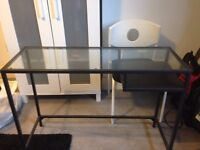 CHEAP -IKEA Black and Glass Desk Table