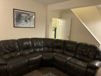 FURNITURE VILLAGE CHOCOLATE BROWN ELECTRIC RECLINER CORNER SOFA - MUST GO TODAY-CHEAP DELIVERY- £425