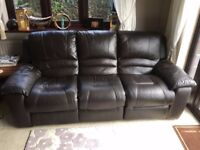 Electric Reclining Brown Leather Sofa 3 seater