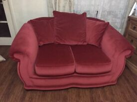 2x pink suede sofas