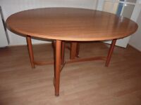 Oval wooden veneered gate leg dining table and 4 chairs - FREE