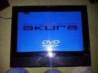 AKURA 15'' FLAT SCREEN TV WITH BUILT IN DVD PLAYER