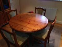 Ducal pine table (extendable) and four chairs
