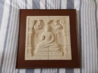 Borobudur Temple Relief Plaque in Wooden Frame: The Buddha