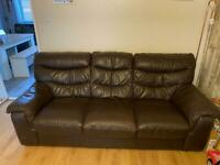 Brown leather 3 seater/ single chair / opening foot stool