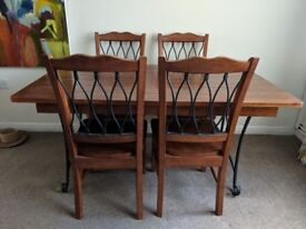 Solid Hard Wood Cast Iron Dining Table with 4 Chairs