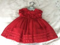 Boots Mini Club Baby Girls Party Dress - Red. Size 0 - 3 months