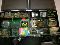 2 loaded tackle boxes for carp fishing