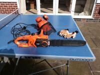 Electric Chainsaw, Von Haus 15/011. Plus helmet & chainsaw gloves and chain sharpener