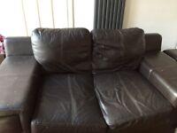 Free dark brown leather sofa