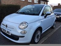 Fiat 500 (Automatic) 45,000 miles - Baby blue, Ivory interior