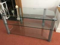3 tier large glass tv stand