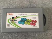 "York 10kg set of three pairs of dumbbells ""fitbells"""