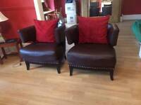 Pair of Brown Faux Leather Tub Chairs