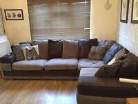 Corner sofa & footstool with storage