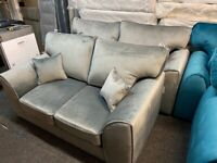 NEW - EX DISPLAY DFS ORBIA SILVER - GREY VELVET CHENILLE 3 + 2 SEATER SOFA SOFAS 70% Off RRP