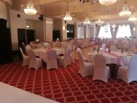 50p chair covers, £5 martini glass, £9 candelabra, one free centrepiece, hire