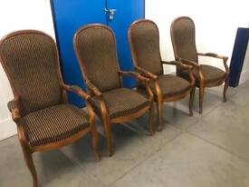 Set of four French arm chairs