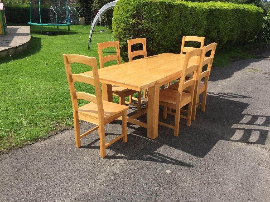 rubber wood 6 seater dining table and 6 chairs in frome somerset