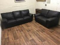 Real leather 3+2 sofas (free delivery)