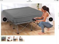 NEW UNOPENED HEAVY DUTY STEEL FRAME INFLATABLE DOUBLE BED. COMPLETE WITH PUMP AND BAG FOR STORAGE