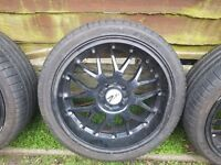 """17"""" zito black deep dish alloys fits most 4 studs as its multi fit excellent matching tyres"""