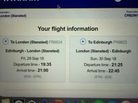 Return flights Edinburgh to London. 28/09/18, 19:35 - 30/09/18, 21:25